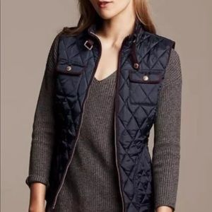 Black Quilted Banana Republic Field Vest Sz Small